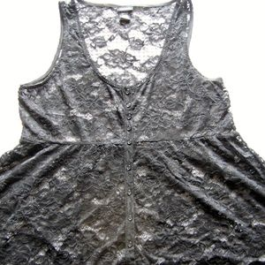 Lace Baby Doll Black Tank Top